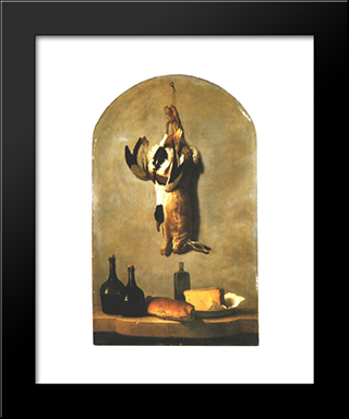 Still Life With Hare, Duck, Loaf Of Bread, Cheese And Flasks Of Wine: Modern Black Framed Art Print by Jean Baptiste Oudry