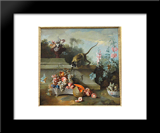 Still Life With Monkey, Fruits, And Flowers: Modern Black Framed Art Print by Jean Baptiste Oudry