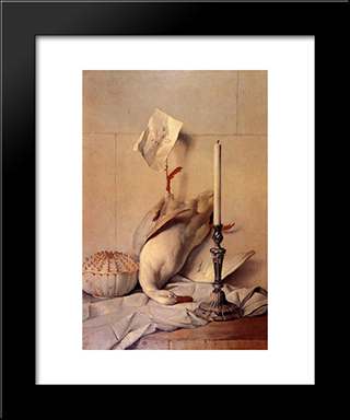 The White Duck: Modern Black Framed Art Print by Jean Baptiste Oudry