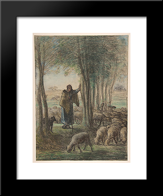 A Shepherdess And Her Flock In The Shade Of Trees: Modern Black Framed Art Print by Jean Francois Millet