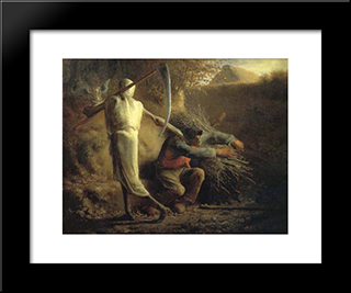 Death And The Woodcutter: Modern Black Framed Art Print by Jean Francois Millet