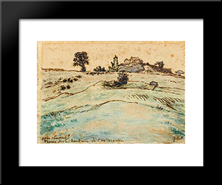 Farm On The Hills Of The Ardoisiere Near Cusset: Modern Black Framed Art Print by Jean Francois Millet