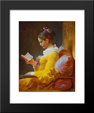 A Young Girl Reading: Modern Black Framed Art Print by Jean Honore Fragonard