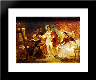 Francois The Ist In The Studio Of Rosso: Modern Black Framed Art Print by Jean Honore Fragonard