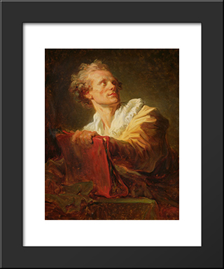 Portrait Of A Young Artist, Presumed To Be Jacques Andre Naigeon: Modern Black Framed Art Print by Jean Honore Fragonard