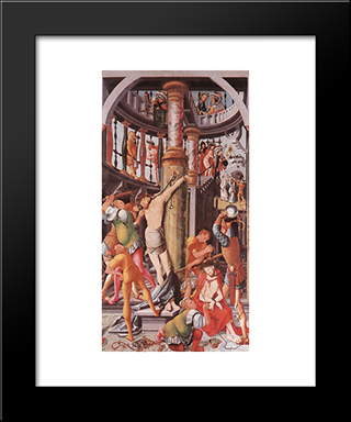 Flagellation Of Christ: Modern Black Framed Art Print by Jerg Ratgeb