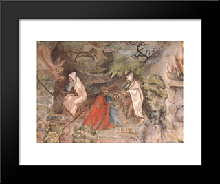 Scenes From The Life Of Prophet Elijah: Modern Black Framed Art Print by Jerg Ratgeb