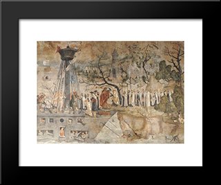 The Carmelites And King St. Louis In 1248: Modern Black Framed Art Print by Jerg Ratgeb