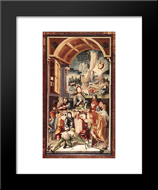 The Last Supper: Modern Black Framed Art Print by Jerg Ratgeb