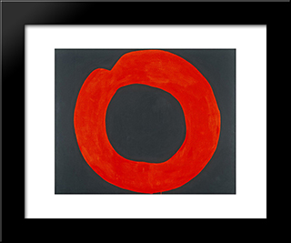 Red Circle On Black: Modern Black Framed Art Print by Jiro Yoshihara