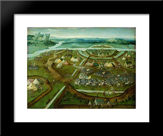 Battle Of Pavia: Modern Black Framed Art Print by Joachim Patinir