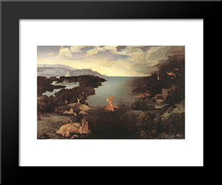 Charon: Modern Black Framed Art Print by Joachim Patinir
