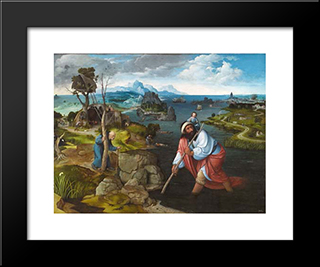 Landscape With St. Christopher: Modern Black Framed Art Print by Joachim Patinir
