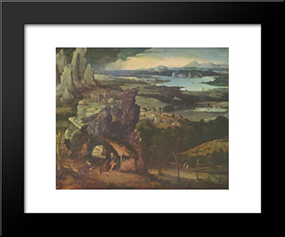 Landscape With St. Jerome: Modern Black Framed Art Print by Joachim Patinir