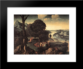 Landscape With St. John The Baptist Preaching: Modern Black Framed Art Print by Joachim Patinir
