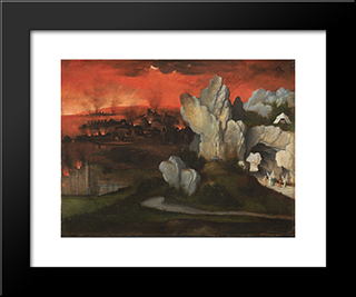 Landscape With The Destruction Of Sodom And Gomorrah: Modern Black Framed Art Print by Joachim Patinir