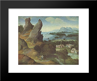 Landscape With The Flight: Modern Black Framed Art Print by Joachim Patinir