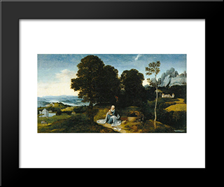 Landscape With The Flight Into Egypt: Modern Black Framed Art Print by Joachim Patinir
