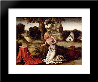 Landscape With The Penitent Saint Jerome: Modern Black Framed Art Print by Joachim Patinir
