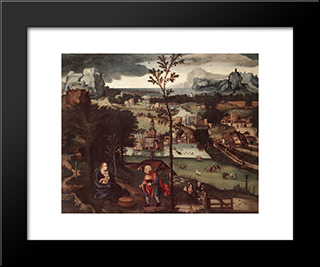 Landscape With The Rest On The Flight: Modern Black Framed Art Print by Joachim Patinir