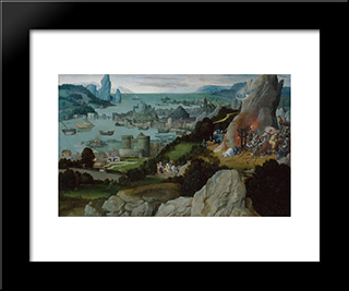 Miracle Of St. Catherine: Modern Black Framed Art Print by Joachim Patinir