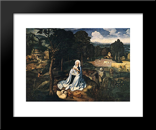 Rest During The Flight To Egypt: Modern Black Framed Art Print by Joachim Patinir