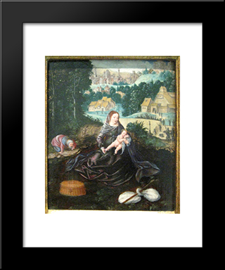 Rest Of The Holy Family On The Flight Into Egypt: Modern Black Framed Art Print by Joachim Patinir