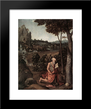 Rocky Landscape With Saint Jerome: Modern Black Framed Art Print by Joachim Patinir