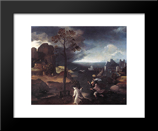 St. Christopher Bearing The Christ Child: Modern Black Framed Art Print by Joachim Patinir