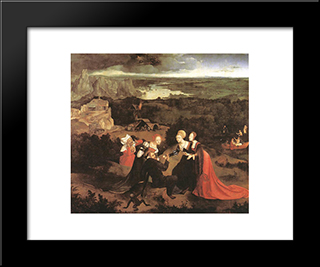 Temptation Of St. Anthony: Modern Black Framed Art Print by Joachim Patinir