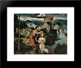 The Baptism Of Christ: Modern Black Framed Art Print by Joachim Patinir