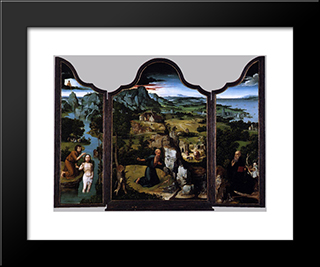 The Penitence Of Saint Jerome: Modern Black Framed Art Print by Joachim Patinir