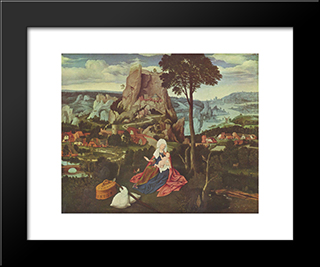The Rest Of The Flight Into Egypt: Modern Black Framed Art Print by Joachim Patinir