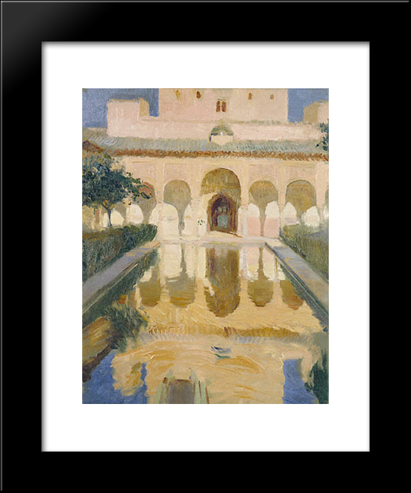 Hall Of The Ambassadors, Alhambra, Granada: Modern Black Framed Art Print by Joaquin Sorolla
