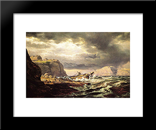 Shipwreck On The Coast Of Norway: Modern Black Framed Art Print by Johan Christian Dahl