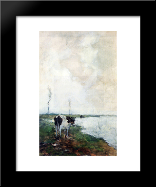 A Cow Standing By The Waterside In A Polder: Modern Black Framed Art Print by Johan Hendrik Weissenbruch