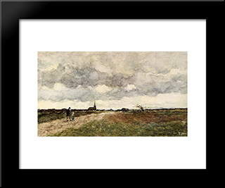 Figures On A Country Road, A Church In The Distance: Modern Black Framed Art Print by Johan Hendrik Weissenbruch