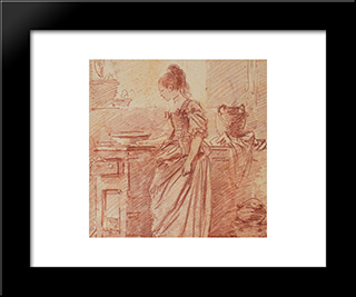 Die Hubsche Kochin: Modern Black Framed Art Print by Johann Anton de Peters