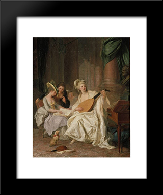 Huldigung An Gluck: Modern Black Framed Art Print by Johann Anton de Peters