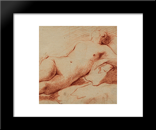 Liegender Weiblicher Akt: Modern Black Framed Art Print by Johann Anton de Peters