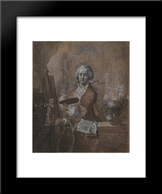 Selbstbildnis An Der Staffelei: Modern Black Framed Art Print by Johann Anton de Peters