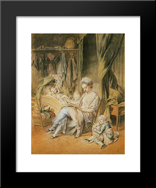 The Happy Mother: Modern Black Framed Art Print by Johann Anton de Peters
