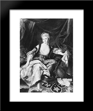 Woman With Lute: Modern Black Framed Art Print by Johann Anton de Peters
