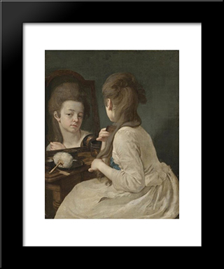 Young Lady At Her Toilet Combing Her Hair: Modern Black Framed Art Print by Johann Anton de Peters