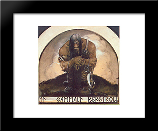 An Old Mountain Troll: Modern Black Framed Art Print by John Bauer