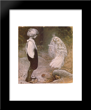 At That Moment She Was Changed By Magic To A Wonderful Little Fairy: Modern Black Framed Art Print by John Bauer