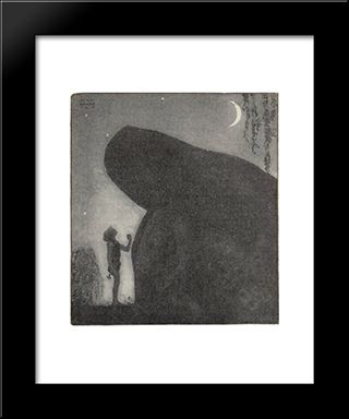 Awake Groa Awake Mother: Modern Black Framed Art Print by John Bauer