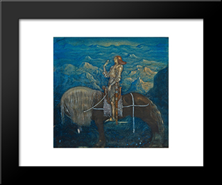 En Riddare Red Fram: Modern Black Framed Art Print by John Bauer