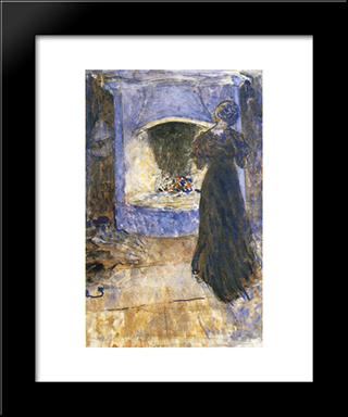 Ester In The Cottage: Modern Black Framed Art Print by John Bauer