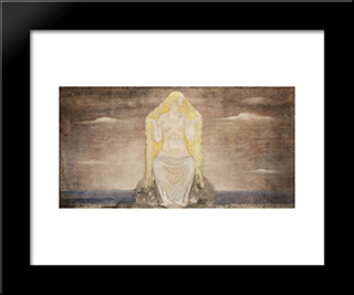 Freja: Modern Black Framed Art Print by John Bauer